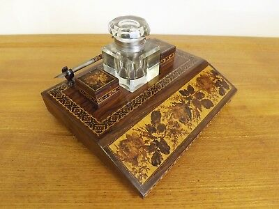 Beautiful Victorian Tunbridge Ware Inkwell Stand With Flowers. 1860's