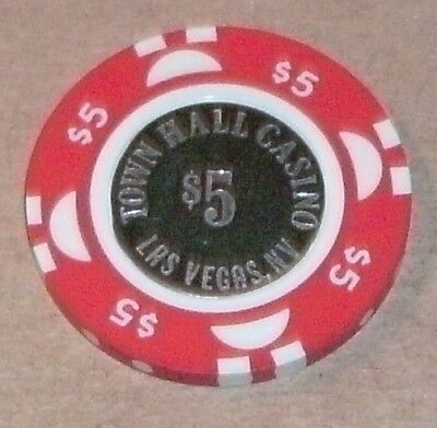 $5.00 chip from Town Hall casino, Las Vegas, nv