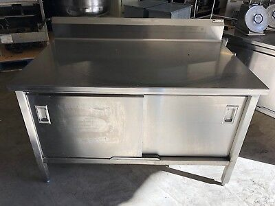 4' Commercial Heavy Duty Stainless Steel Cabinet Prep Food Work Table Doors NSF