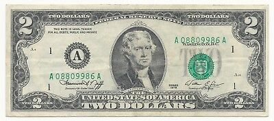 1976 $2 Federal Reserve Note  ERROR  THIRD PRINT SHIFT