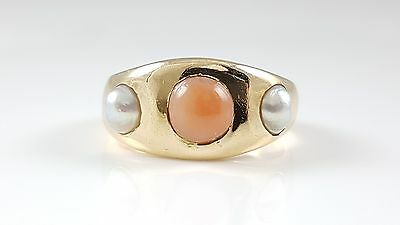 Heavy Antique Victorian 18Ct Yellow Gold Coral & Pearl Ring Circa 1888 9.5 Grams