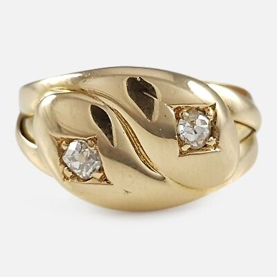 Antique Victorian London 1896 18ct Yellow Gold 0.20cts Diamond Double Snake Ring