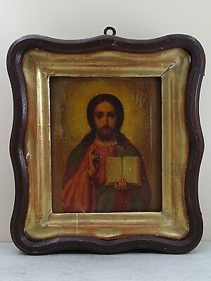Antique 19th  Russian Hand Painted Wooden Icon of Jesus Christ, wooden kiot.