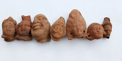 Lot of 7 terracotta Greco Roman heads Egypt 1st century BC- 1st CE Harpocrates