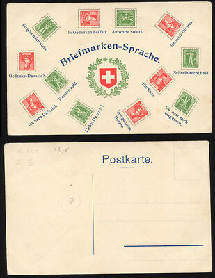 "Switzerland ca1910 ""stamps"" postcard with 5c William Tell, 10c Helvetia. Scarce"