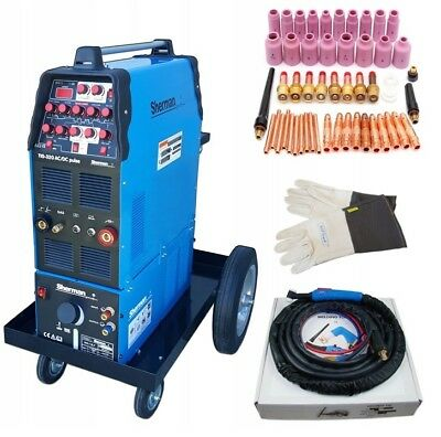 SET Welding machine Sherman TIG 320 AC/DC pulse Welder Gloves Accessories