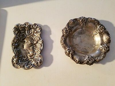 2 Antique English Sterling Silver Tray Dish VERY ORNATE 5.1 OZ