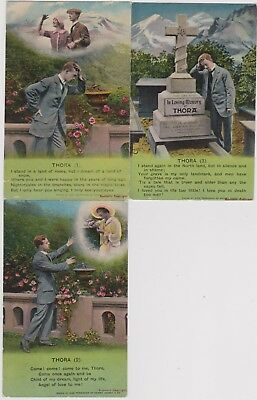 "WW1. SET OF 3 PATRIOTIC BAMFORTH SONG CARDS. No.4779. ""THORA"". COMPLETE SET."