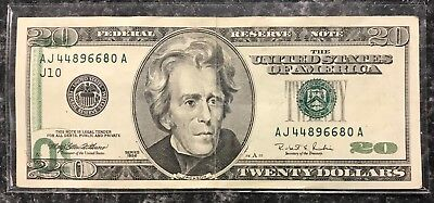 1996 $20 U.s. Federal Reserve Note Misprint Error Note ~ Xf Condition! Nr!