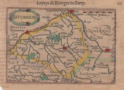 1602 Fine Bertius Map of Bourges, France