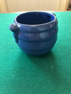 "HTF FRANKOMA ROYAL BLUE RINGED SUGAR ADA CLAY ROUND ""o"". Excellent Condition."