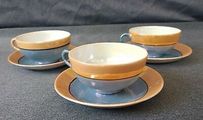 Vintage Japanese Blue and Peach  Lusterware Tea Cups and Saucers - Set of 3