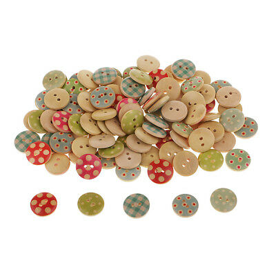 100Pcs Round 15mm Wooden Decorative Buttons DIY Clothing Scrapbooking Sewing