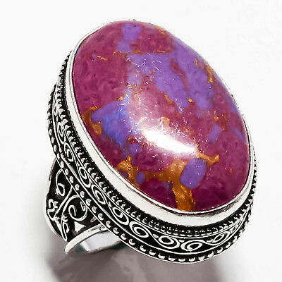 Purple Copper Turquoise Vintage  Gemstone 925 Sterling Silver  Ring 10 30182