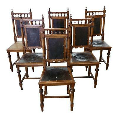 Renaissance Revival Chairs w/Embossed Leather seats -Set of 6