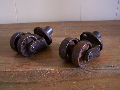 Lot Of 2 Antique Cast Iron Industrial Double Wheel Casters Table Piano Vintage