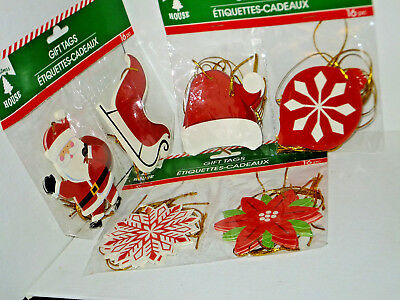 Large 3x3 Christmas Glittered Gift Tags(48) w/Ties Mixed Lot
