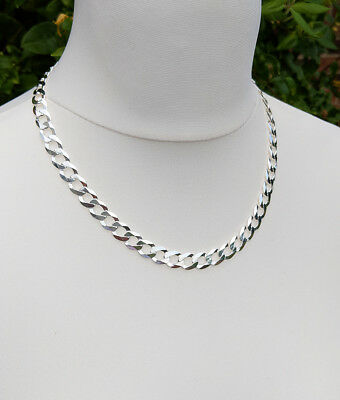 Men's Sterling Silver 9.5mm Curb Chain Necklace 20″ 22″ 24″