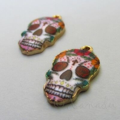Sugar Skull Charms 22mm Gold Plated Calavera Pendants C1154 - 2, 5 Or 10PCs