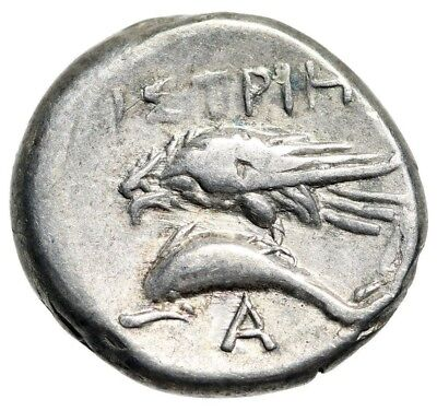 "Moesia, Istros AR Drachm ""Male Heads, One Inverted & Eagle on Dolphin"" Fine"