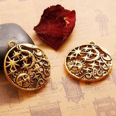 Sun And Moon Stars Celestial Antiqued Gold Plated Pendant C4850 - 1, 2 Or 5PCs
