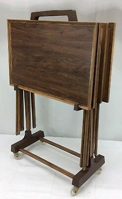 Vintage TV TRAY TABLE SET Faux Wood mid century modern Brown carrier Stand 60s