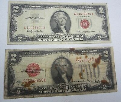 Series 1928G and 1963 Red Seal Two Dollar Bill lot of 2