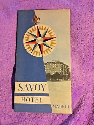 1950's Savoy Hotel Madrid Travel Brochure with Map