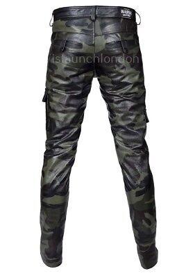 Mens Hot Genuine Leather Camo Pants Nightclub Trousers Kink Gay Bluf Trousers