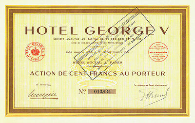 Top: HOTEL GEORGE V, Paris, 100 Francs, 1939