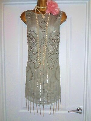 River Island 1920s Style Gatsby Flapper Charleston Sequin Beaded Dress Size 14