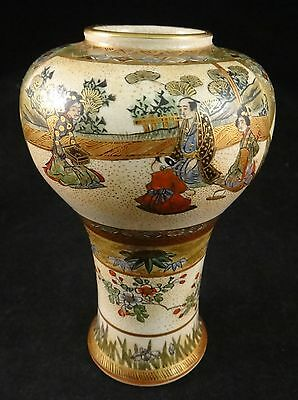 Antique Japanese Satsuma Pottery Vase w/24k gold accents. Meiji Period , 4 7/8""