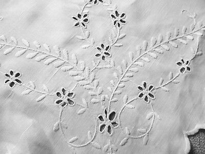 Vintage  Pretty Hand Embroidered Eyelet. Tablecloth, white Linen