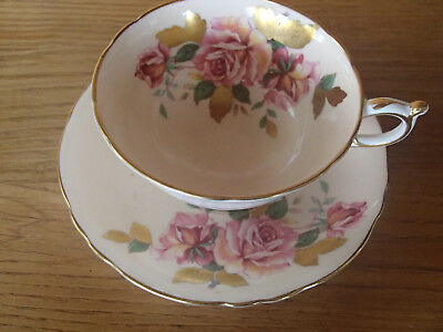 RARE Paragon Double Warrant ROSES with SOLID GOLD LEAVES Cup and Saucer Set