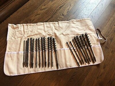 Russell Jennings Irwin Auger Drill Bit Brace LOT  Vintage Cast Steel Tool Roll