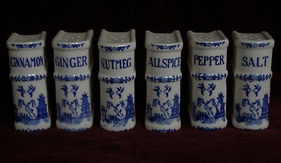Vtg Nasco Japan Blue Willow Spice Containers Books Damage