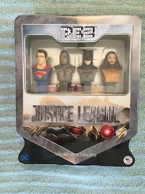 Pez Justice League Set Of 4 Dispensers Collectors Tin Box New