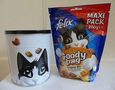 Felix Goody Bag Original Mix Maxi Pack Bag of Cat Treats 200g with Treats Tin