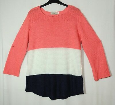 Pink White Navy Blue Ladies Casual Light Jumper Size L Bassini Acrylic