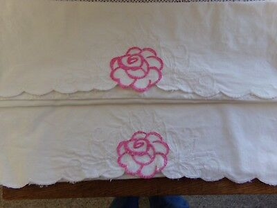 Vintage Embroidered Pillow Case Set Pink Rose White Leaves
