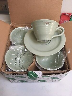 NEW Cups & Saucers x 4 Sophie Conran Portmeirion Sage