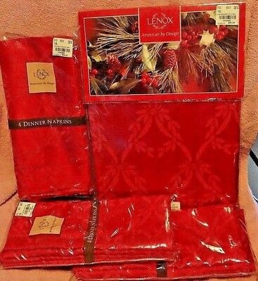 "NEW LENOX CHELSA Red DAMASK CHRISTMAS 60"" X102"" TABLECLOTH & 12 NAPKINS RETIRED"