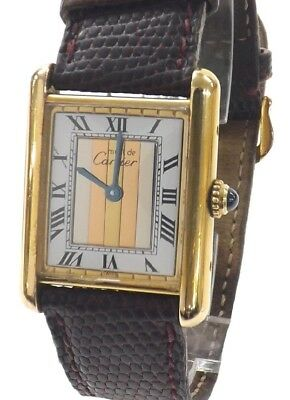 Must de Cartier Tank classic ladies Trinity silver-gilt - excellent time keeper
