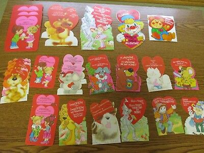 1970's circa Vintage Lot 33 Valentine Cards Die Cut with 19 Envelopes
