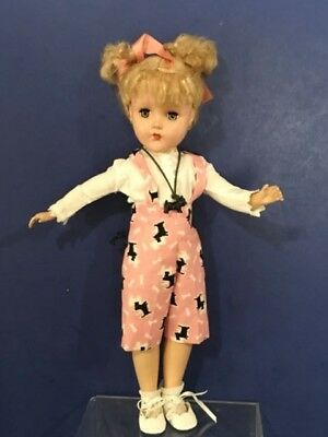 """Adorable 14"""" Vintage  NANNETTE Doll in Scotty Scottie  Dog outfit  Arranbee"""