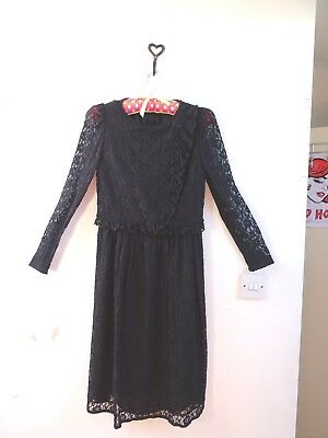 VINTAGE Oriental black lace GOTHIC long sleeve mock top skirt party dress  S XS c902f78a69fb