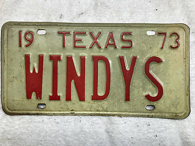 1973 Texas license plate WINDYS