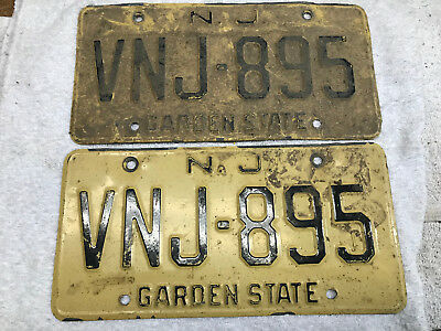 1960s New Jersey license plate set (front-rear) pair