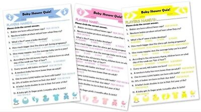 Baby Shower Quiz Game 12 24 36 48 60 Players Girl Boy Neutral