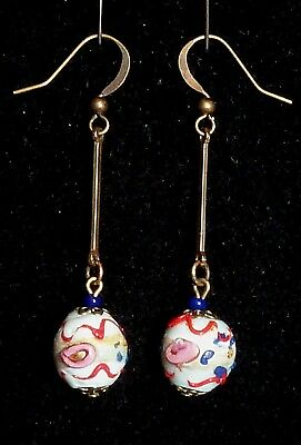 Vintage Venetian art deco red white & blue wedding cake glass bead earrings -